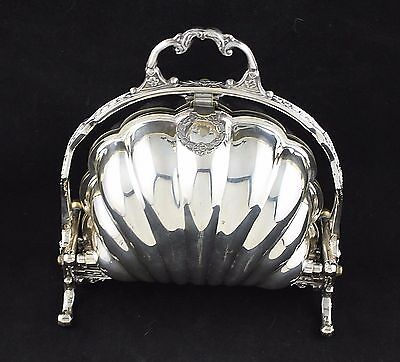 F.B. ROGERS SILVER PLATE Co FOLDING BISCUIT BOX SERVING DISH clam shell c 1890