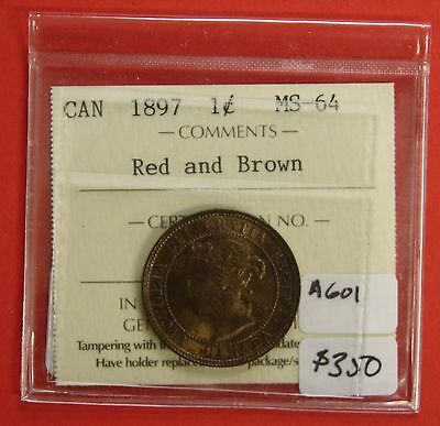 1897 Canada Large One Cent Penny A601 - ICCS MS-64 Red & Brown