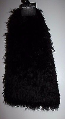 RAVE Fuzzy Leg Warmers black NEW WITH TAGS dance cyber halloween ONE SIZE