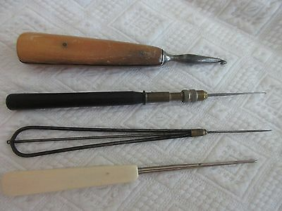 antique,VERY EARLY,PRIMITIVE,crochet hooks,MICRO HOOK,horn,cow bone,metal,