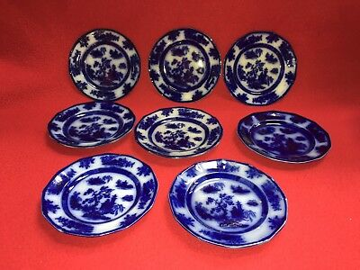 """Antique Signed Wedgwood Ironstone Chapoo Flow Blue Plate 6 3/8"""" 8 Available"""