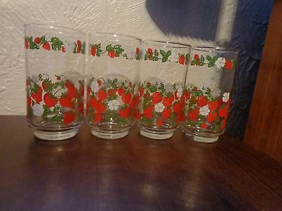 4 vtg LIBBEY glassware 12 oz tumblers red STRAWBERRIES white flowers green vines
