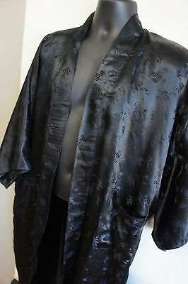 Gorgeous Vintage Black Silk Japanese Floral Bamboo Vtg Bathrobe Oriental Robe
