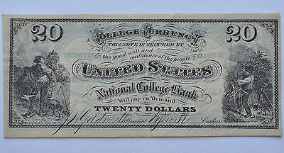 $20 National College Bank United States Business Currency Note Obsolete