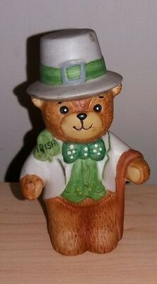 Lucy & Me Bear Figurine St Patricks Day Irish Bear Lucy Rigg 1979 Enesco Euc