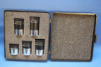 "MEADE 5 PIECE SET MA SERIES 1.25"" TELESCOPE EYEPIECES W/CASE 6,12, 17, 20, 25mm"