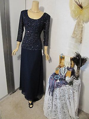 *NWT*Mother Of The Bride Dress by Laurence Kazar-Size M -Navy Illusion Dress