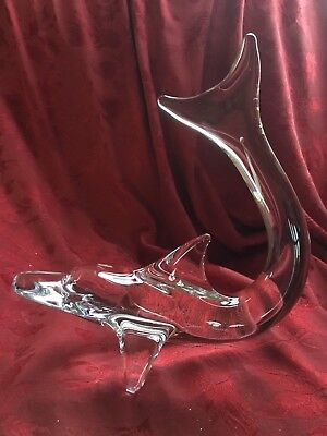 FLAWLESS Exceptional Crystal DAUM France DOLPHIN WHALE SHARK PORPOISE Sculpture