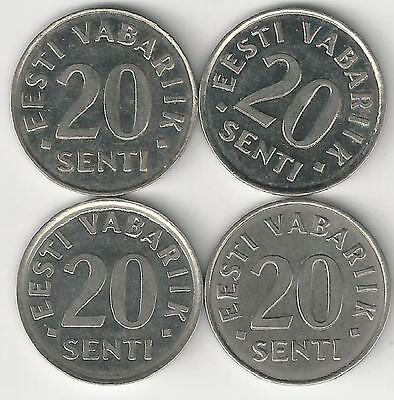 4 DIFFERENT 20 SENTI COINS from ESTONIA (1999, 2003, 2004 & 2006)