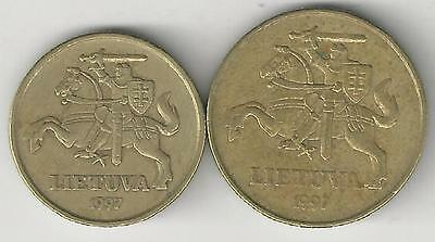 2 DIFFERENT COINS from LITHUANIA - 20 & 50 CENTU (BOTH DATING 1997)1