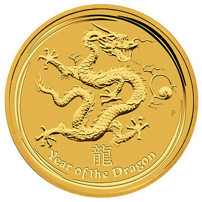2012 Australian Lunar Dragon 1/10 oz Gold Coin - Series II