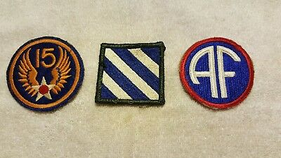 3 - Wwii Original Patches - 15Th Air Force, 3Rd Infantry, Air Force