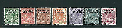 GB MOROCCO AGENCIES (BRITISH) 1914-21 KGV (Scott 209-215 short 216) F/VF MH