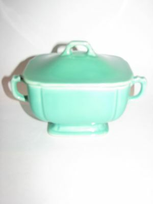 Homer Laughlin, Vintage, Sugar Bowl with Lid, Riviera, Light Green, excellent