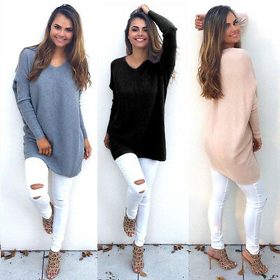 Womens Pullover Ladies Long Sleeve Casual Sweater Blouse Loose Shirt Jumper Tops