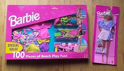 Vintage 1995 Barbie special 100 pc Beach set Sleep N Fun New Outfits Clothes Lot