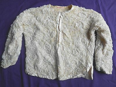 "Vintage Ivory heavily Beaded Cardigan Sweater   ""Ornament in Hong Kong"""