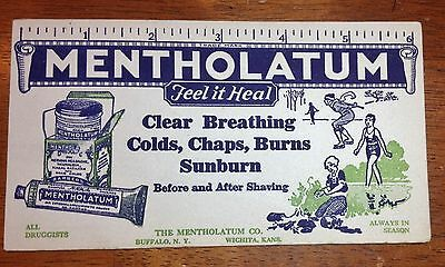 """Early Advertising Blotter Mentholatum """"Feel it Heal"""" Colorful Graphics"""