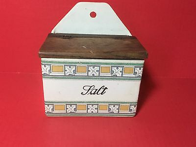 Antique/Vintage Salt Box with Wooden Lid