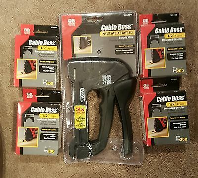 Nip Gardner Bender Cable Boss  Staple Gun With 4 Boxes Of 1/2 Staples Msg-501B