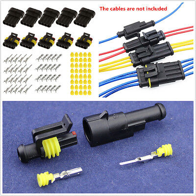 30 Sets 1 2 3 4 5 6 Pin Way Sealed Electrical Wire Connector Plug Car Motorcycle