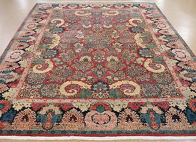 11 x 14 Antique Persian SAROUK Hand Knotted Wool RED NAVY Oriental Rug Carpet