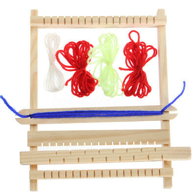Traditional Wooden Weaving Toy Loom with Accessories Childrens Craft Box Set