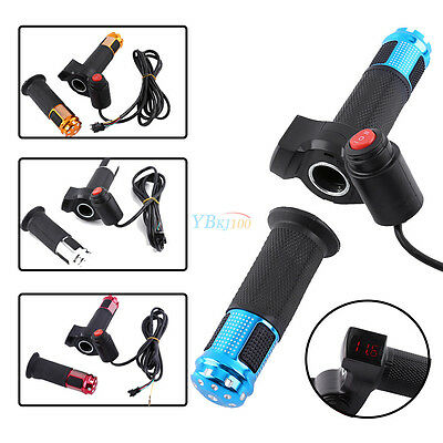 Speed Twist Throttle Grips 3 Switch with LED Display Screen Handle For EBike