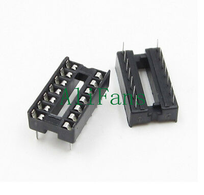 20PCS 14pin DIP IC Socket Adaptor Solder Type Socket Pitch Dual Wipe Contact