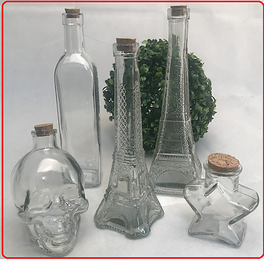 Skull/ Star/ Pair Tower Clear Glass Bottle Jar Vodka Whiskey Wine candy party