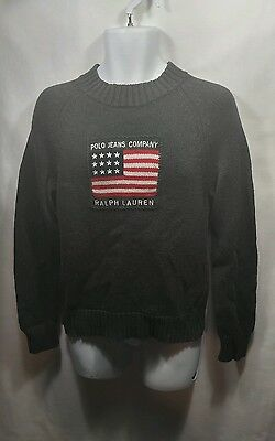 Polo Jeans Ralph Lauren Knit Sweater Youth Large American Flag Rare