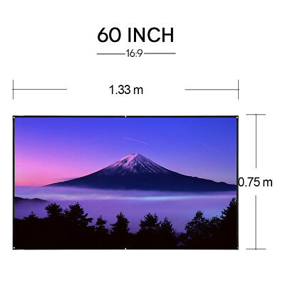 Portable 60'' Projector Screen 16:9 HD Home Cinema Outdoor Movie Projection AU
