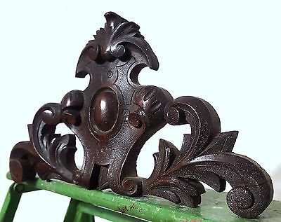 Hand Carved Wood Pediment Antique French Coat Of Arms Salvaged Carving Crest