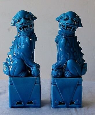 Pair Large Vintage Chinese Foo Dogs   Temple Lions   Feng Shui   26cms