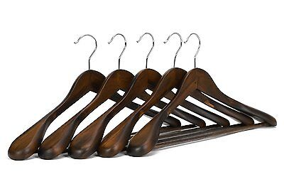 5 Pack Solid Durable Wooden Extra-Wide Shoulder Suit/Coat Hangers, Retro Finish