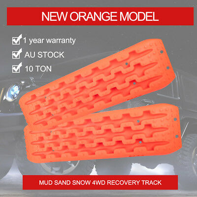 2x Orange 10T Recovery Tracks 4x4 Off Road 4WD Sand Snow Mud Tyre Ladder New