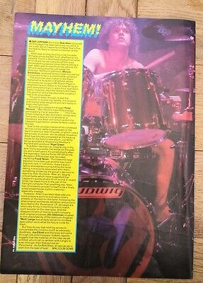 DEF LEPPARD: Rick Allen's accident ARTICLE / clipping 1985