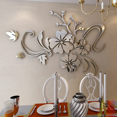 3D Mirror Flower Removable Wall Sticker Art Acrylic Mural Decal Wall Home Decor