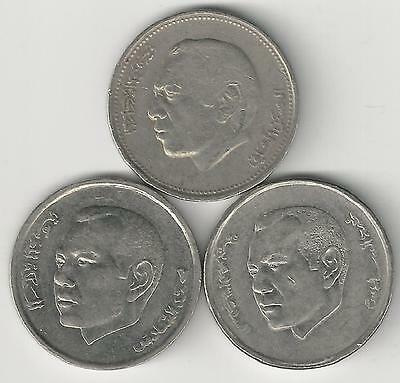 3 DIFFERENT 1 DIRHAM COINS from MOROCCO - 1987, 2002 & 2012 (3 TYPES)