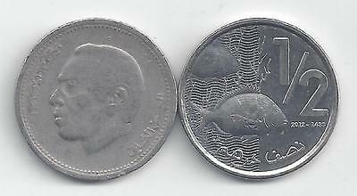 2 DIFFERENT 1/2 DIRHAM COINS from MOROCCO - 1987 & 2012 (2 TYPES)