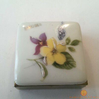Limoges France Square Brass Pill Box With Mirror And Floral Porcelain Lid