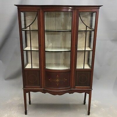 MAHOGANY BOW FRONT INLAID DISPLAY CABINET  Ref a14726