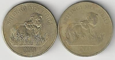 2 DIFFERENT 200 SHILINGI COINS w/ LIONS from TANZANIA DATING 1998 & 2008