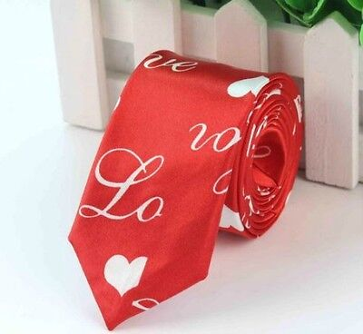 Unisex Novelty Fancy Dress Red & White Love Heart Skinny Tie - Brand New
