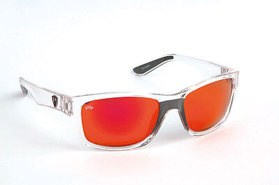 Fox Rage NEW Lure Fishing Polarised Sunglasses Clear Frame Red Mirror Grey Lens