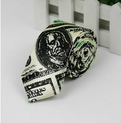 Unisex Novelty American Dollar Bill Money Print Skinny Tie Brand New