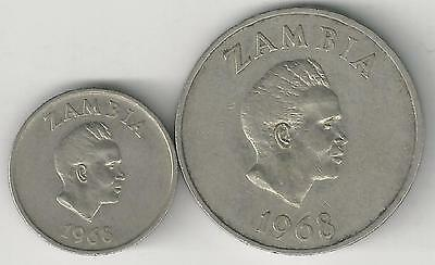 2 DIFFERENT COINS from ZAMBIA - 5 & 20 NGWEE (BOTH DATING 1968)