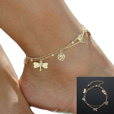 Fashion Anklet Gold Bead Chain Ankle Bracelet Barefoot Sandal Beach Foot Jewelry