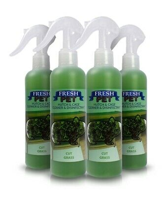 4 X 250ml FRESH-PET Rabbit Hutch and Cage Cleaner Guinea Pigs Hamster FRESH LAWN