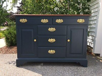 Refurbished Whitney buffet server, chalk painted deep blue with white detailing.